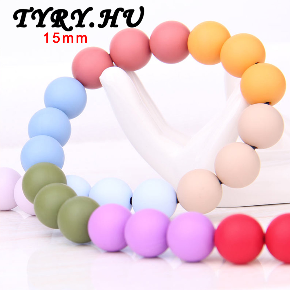 TYRY.HU 15mm Round Loose Silicone Beads Safe Teether Baby Chew Non Toxic BPA Free 100% Food Grade Teething Beads for Necklace 50 best bpa free food grade diy silicone baby chew beads teething necklace nursing jewelry chewable teether for mom mun to wear