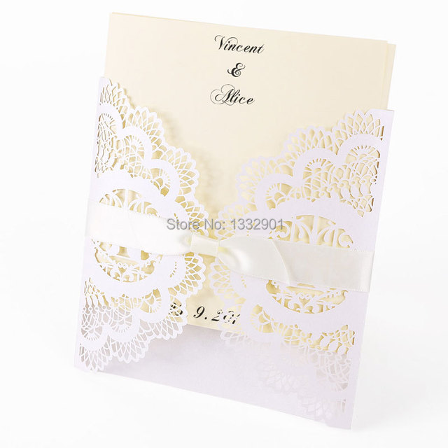 Lace Wedding Invitations Cards Invites White Ivory Blank Envelopes Ribbons Cover