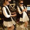 Primavera Verano Nuevas Chicas Coreanas Vestido Largo Cordón de La Manera de La Princesa Plisada Chaleco vestido de Dos Piezas Niños Que Arropan el sistema