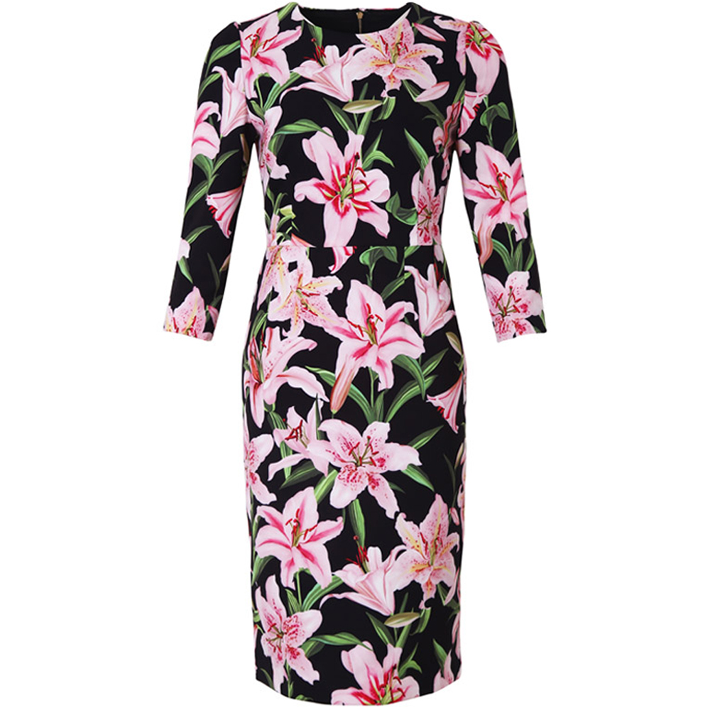Red RoosaRosee Vintage Red Pink Floral Print Half Sleeve Elegant Black Pencil Dress Summer Women Office