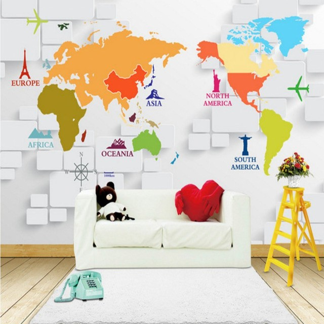 Custom photo wallpaper 3D frescoes world map custom mural TV Background wall studio murals children room mural