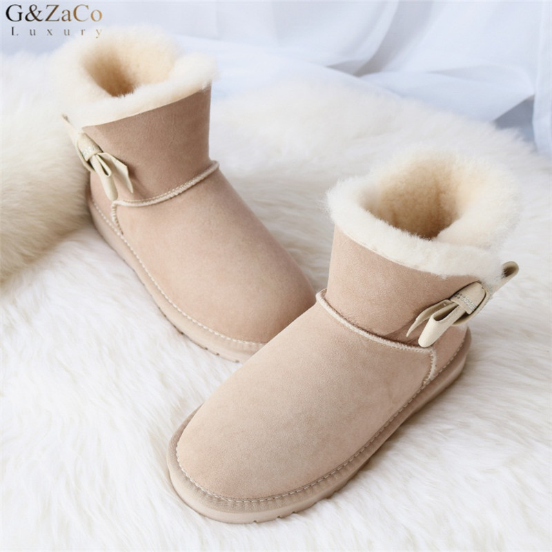 G Zaco Luxury Sheepskin Snow Boots Sweet Side Crystal Bow Suede Boots Short Flat Sheep Natural