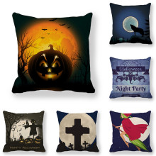 45cm*45cm Cushion cover  Halloween moon linen/cotton pillow case sofa and Home decorative pillow cover shabby chic car decorative cushion cover retro truck mini bus game chair pillow cover 45cm pillow case home decor sofa bedding