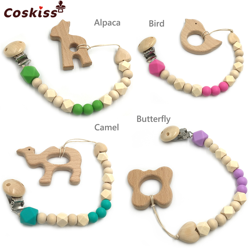Baby Teether Organic Wooden Animal Teether Natural Teething Grasping Toy Silicone Beads Toddler Teether Newborn DIY Baby Gift