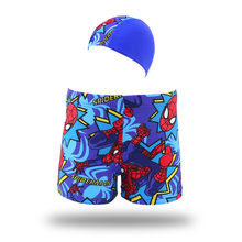 Spider Man Swim Trunks Baby Boys Print Swimwear Kids Summer Beach Swim Trunks Children Surf Clothes With Swim Cap(China)