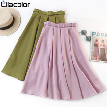 Chiffon Solid Pink Women Skirts 2019 Spring Summer Pleated Belt A Line Army Green Long Office Lady Skirts High Waist Girls Skirt shein girls black solid button up belted casual girls skirts kids clothing 2019 spring fashion a line preppy long flared skirts