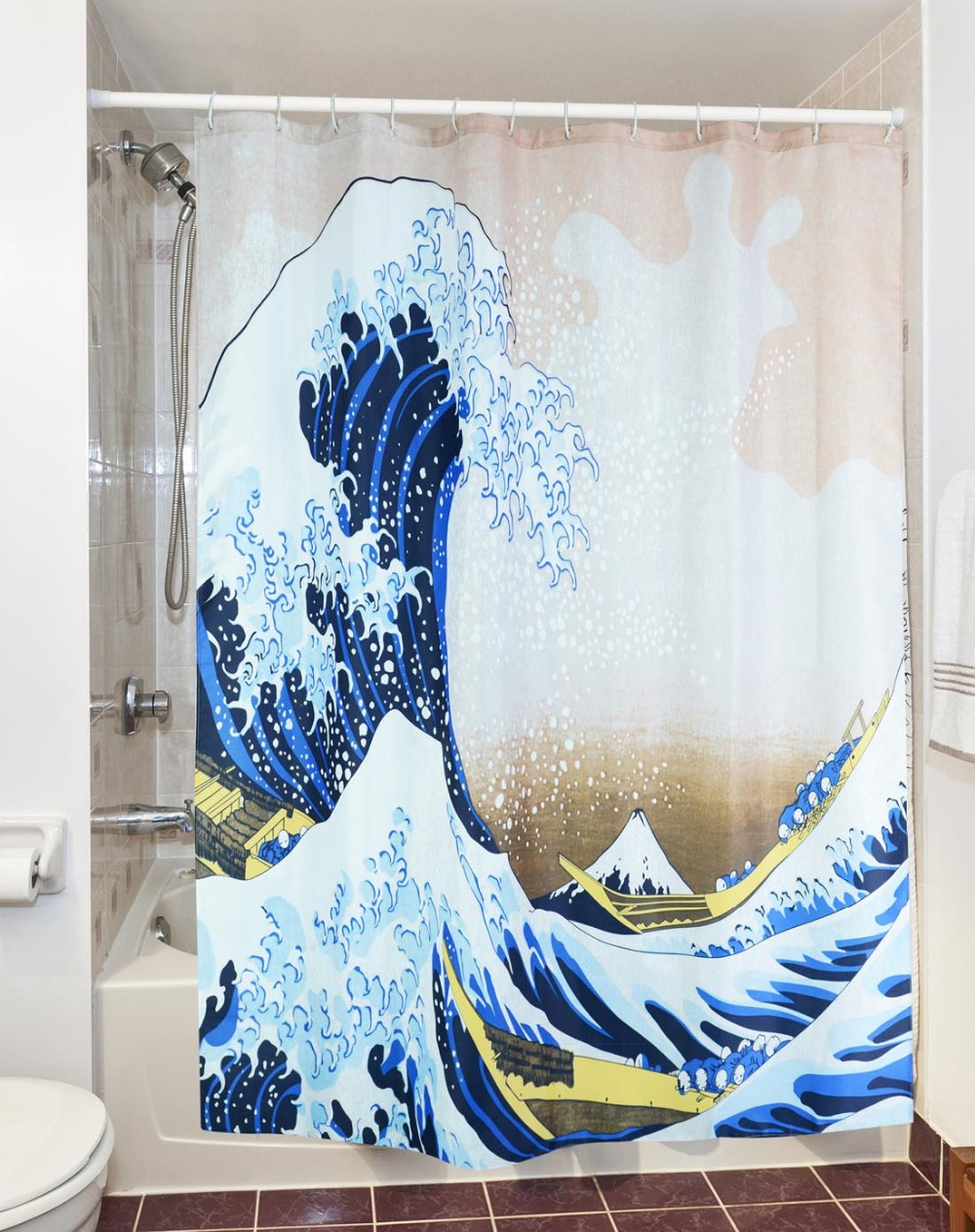 grand wave de kanagawa waterproof shower curtains polyester bathroom bath curtains ocean cortinas de bano 180180cm hooks