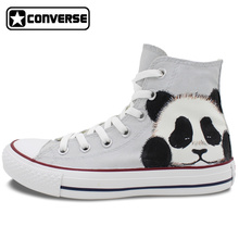 Converse All Star Men Women Sneakers Panda Original Design Hand Painted Canvas Shoes Boys Girls Custom Skateboarding Shoes