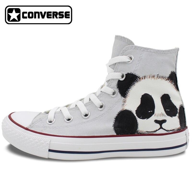 Converse All Star font b Men b font Women Sneakers Panda Original Design Hand Painted Canvas