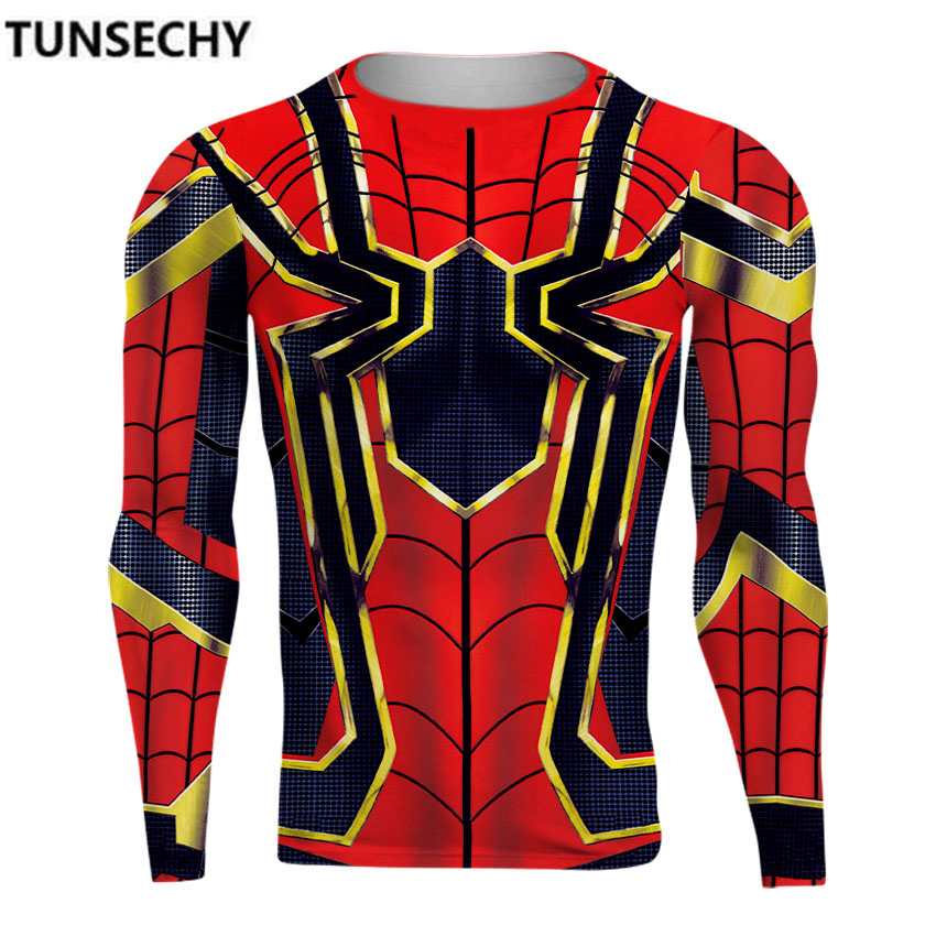 TUNSECHY Spiderman 3D Printed T shirts Men Compression Shirts 2018 NEW Crossfit Tops For Male Costume Free transportation
