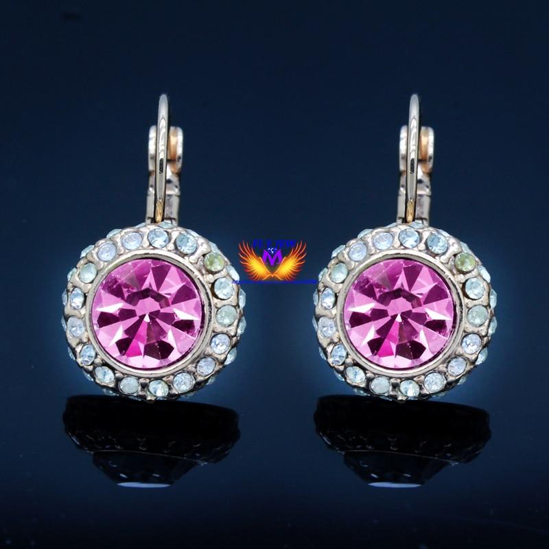 Rose pink Austrian Crystal tassel hottest moon river Earrings (pair) earring Ohrringe silver-jewelry