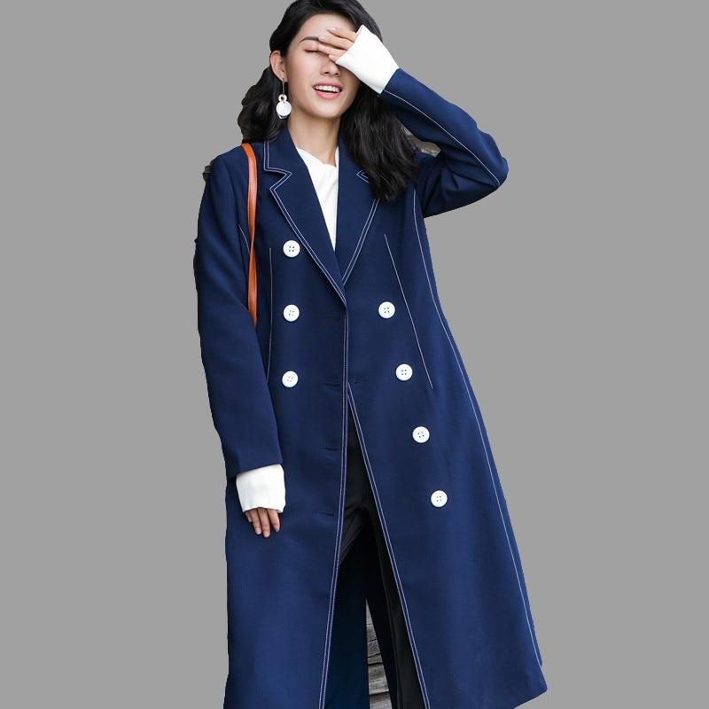 Laine Veste Survêtement Femelle Long Nouveau Mince Mode Solide Femmes Classique Coupe De Printemps Automne 2018 vent nPk80wO