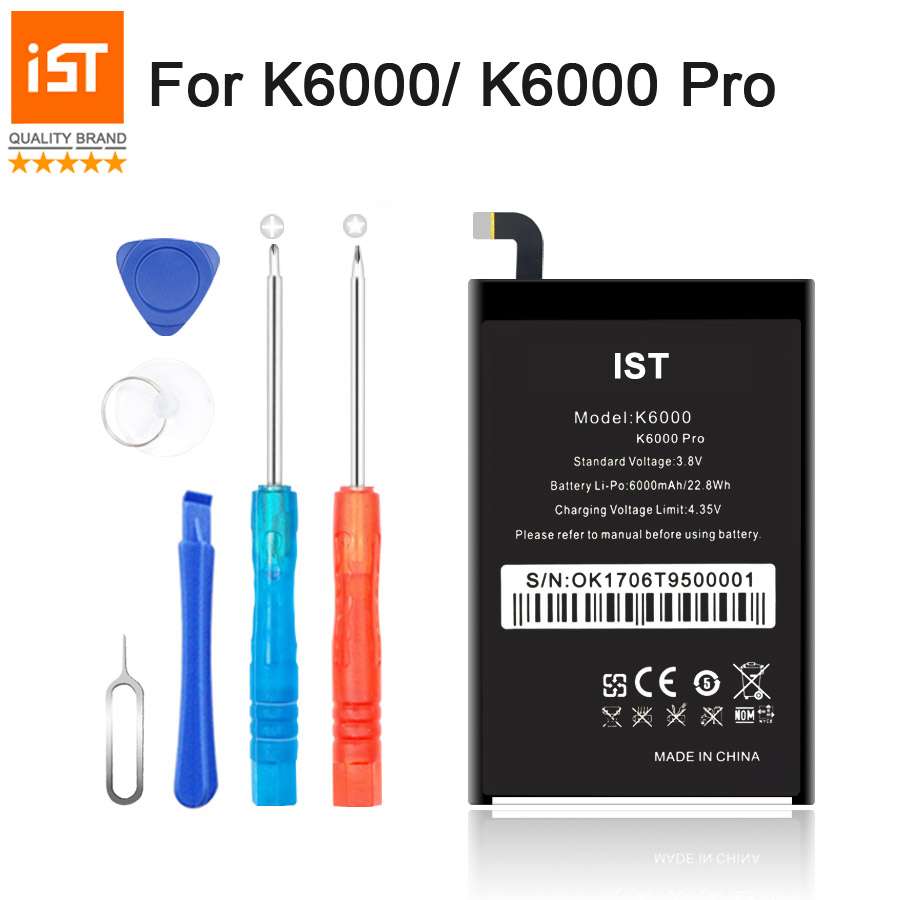 2017 New 100% IST Original K6000 Pro Mobile Phone Battery For Oukitel K6000 Real 6000mAh High Quality Replacement Battery