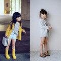 2017 Nuevo Estilo BBW Amarillo Gris de Punto Capa de La Muchacha Niños Suéteres de Diseño de Un Solo pecho de la muchacha sudadera de Algodón blusa de la muchacha