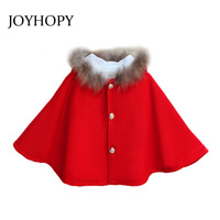 New Autumn Winter Kids Girl Jackets Coats Fur Hoodies Design Red Color Children Outerwear Coats For