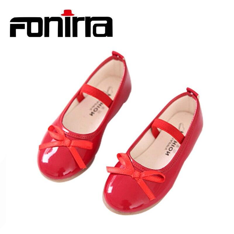 2017 mode Mädchen Freizeitschuhe Bowtie PU Leder Schuhe für mädchen Prinzessin Ballett Wohnungen Schuhe für Party Hochzeit Mädchen Schuhe 001