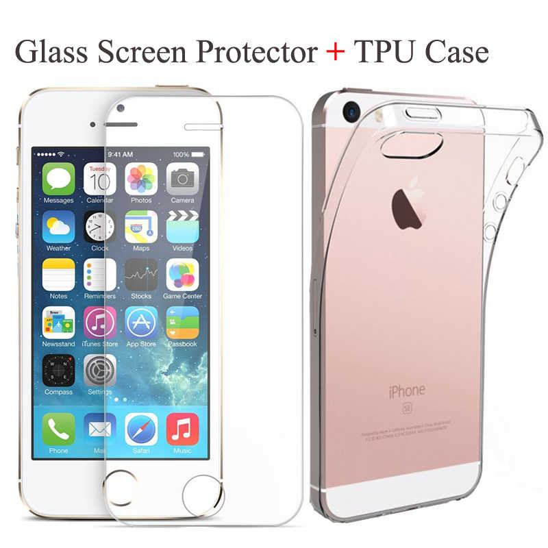 Ascromy Ultra Thin TPU Soft Case Tempered Glass Screen Protector for iPhone5 5s iPhone 5c SE X 7 8 plus Phone Case Cover Fundas