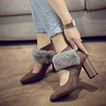 The Women's High-heeled Shoes 2016 New Crude With Sexy Pointed Shallow Mouth High Heels Rabbit's hair Women pumps Shoes