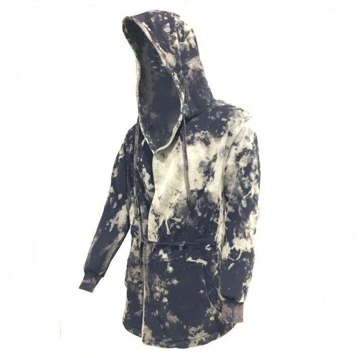 Streetwear Men Tie Dye Hoodies Open Placket Hooded Cardigan Waist Drawstring Design Hiphop Hoodie Free Shipping