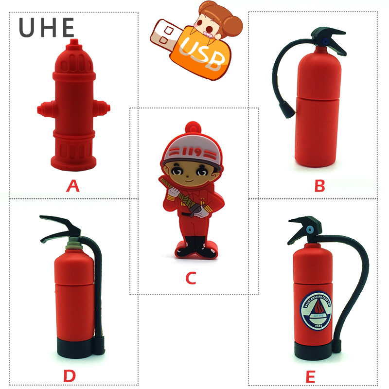 USB Flash Drive Cartoon Fire Extinguisher Pen Drive 4GB 8GB 16GB 32GB 64G New Design Fireman Memory Stick Creative Gift Pendrive