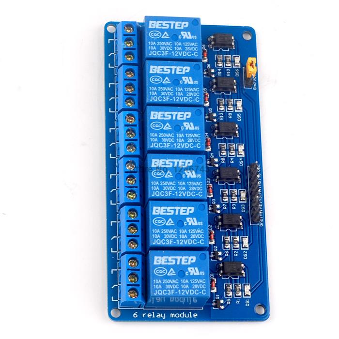 1PCS Bule 6 Channel 12V Relay Module Optical Coupling Relay For Arduino 5v 2 channel ir relay shield expansion board module for arduino with infrared remote controller
