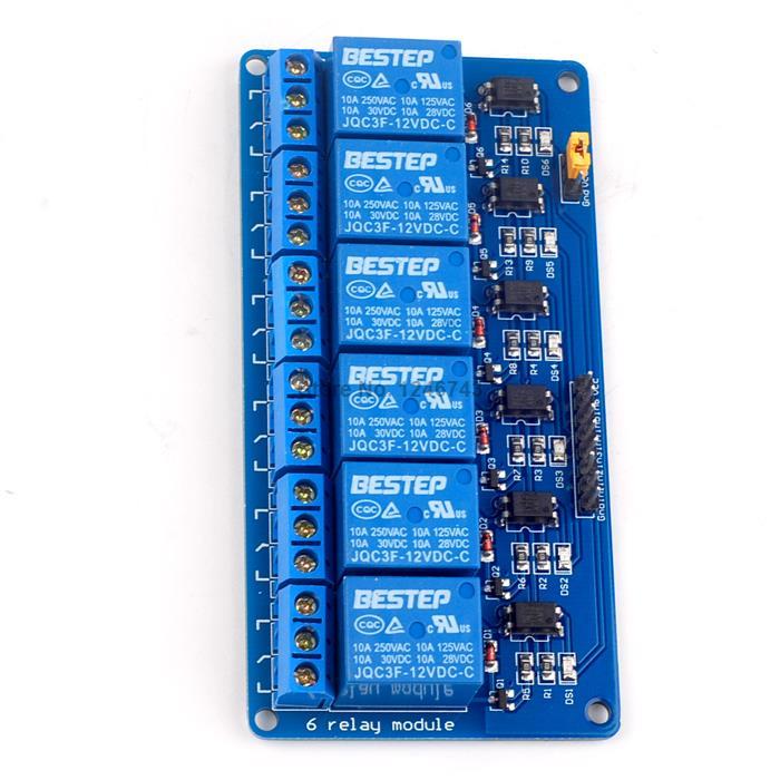 1PCS Bule 6 Channel 12V Relay Module Optical Coupling Relay For Arduino 5v 10a 2 channel relay module w optical coupling protection expansion board for arduino black