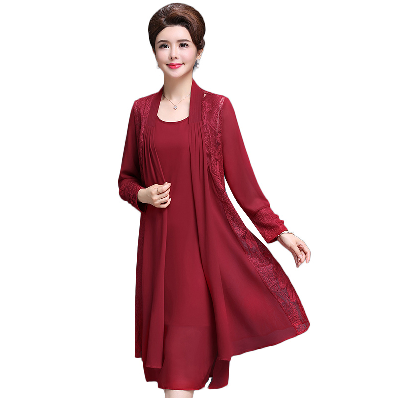 Spring and Autumn Two piece Dress Female 2019 New Elegant Middle aged Women Plus Size XL