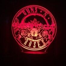 Rock Band Guns N' Roses Logo 3D Night Lamp Atmosphere Touch Sensor Child Kids Baby Nightlight Table Lamp Bedroom Night light rock all night