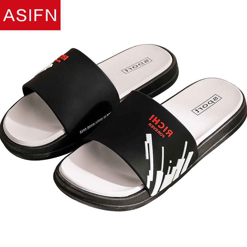 ASIFN Men's Slippers Summer Flip Flops Fashion Beach Slides Women Slides Male Indoor Home Bathroom Bath Slip Household Sandals