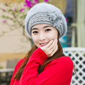 Free Shipping 1 PCS  Fashion 2016 Autumn And Winter Hats Beret Rabbit Hair Knit Hat Casual Outdoor Caps For Women WMMI006