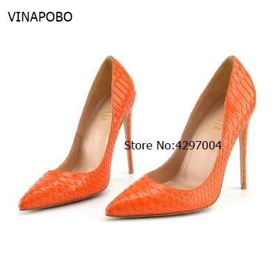 So Kate Patent Leather Brides maid Women Pumps Shoes Party orange Snake Shape High heels 12cm