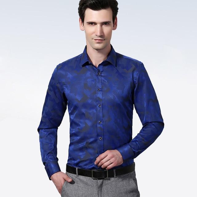 Весна 2017 мужская Роскошный Дизайн Цветочные Печатный Платье Рубашка С Длинным Рукавом Slim-fit Comfort Soft Wrinkle Free Business случайные Рубашки