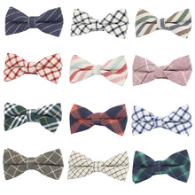 Men British Striped Plaid Checks Casual Bowties Pre-tied Grids Tartan Bow Ties BWTQN0024