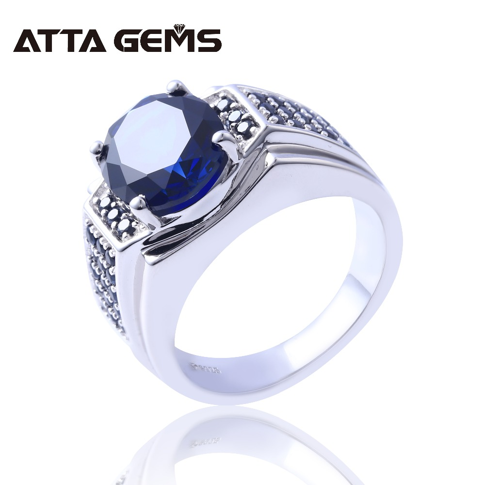 Blue Sapphire Silver Men s Wedding Ring S925 7 2 Carats Created Sapphire Classic Simple Design