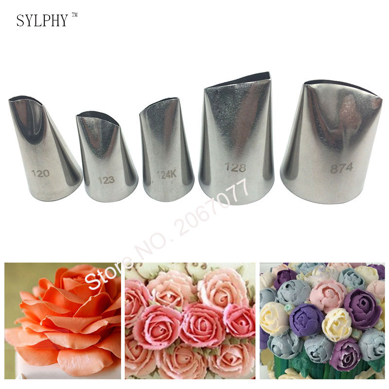 SYLPHY 5pcs Large Stainless Steel Cake Cream Tips Set Rose Tulip Petal Piping Nozzles Baking Pastry Tool