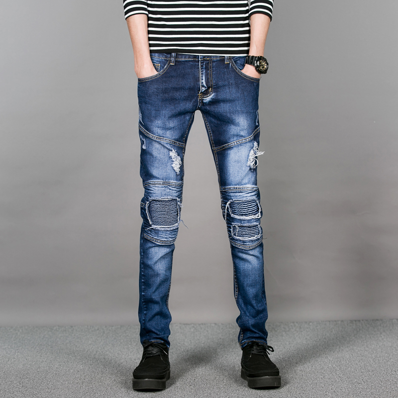 Classic Blue Mens Skinny Jeans With Knee Patch Men Ripped Jeans Pants Stretch Active Slim Fit Men's Denim Pants Biker Jeans Male 2017 fashion patch jeans men slim skinny stretch jeans ripped denim blue pants new famous brand mens elastic jeans f701