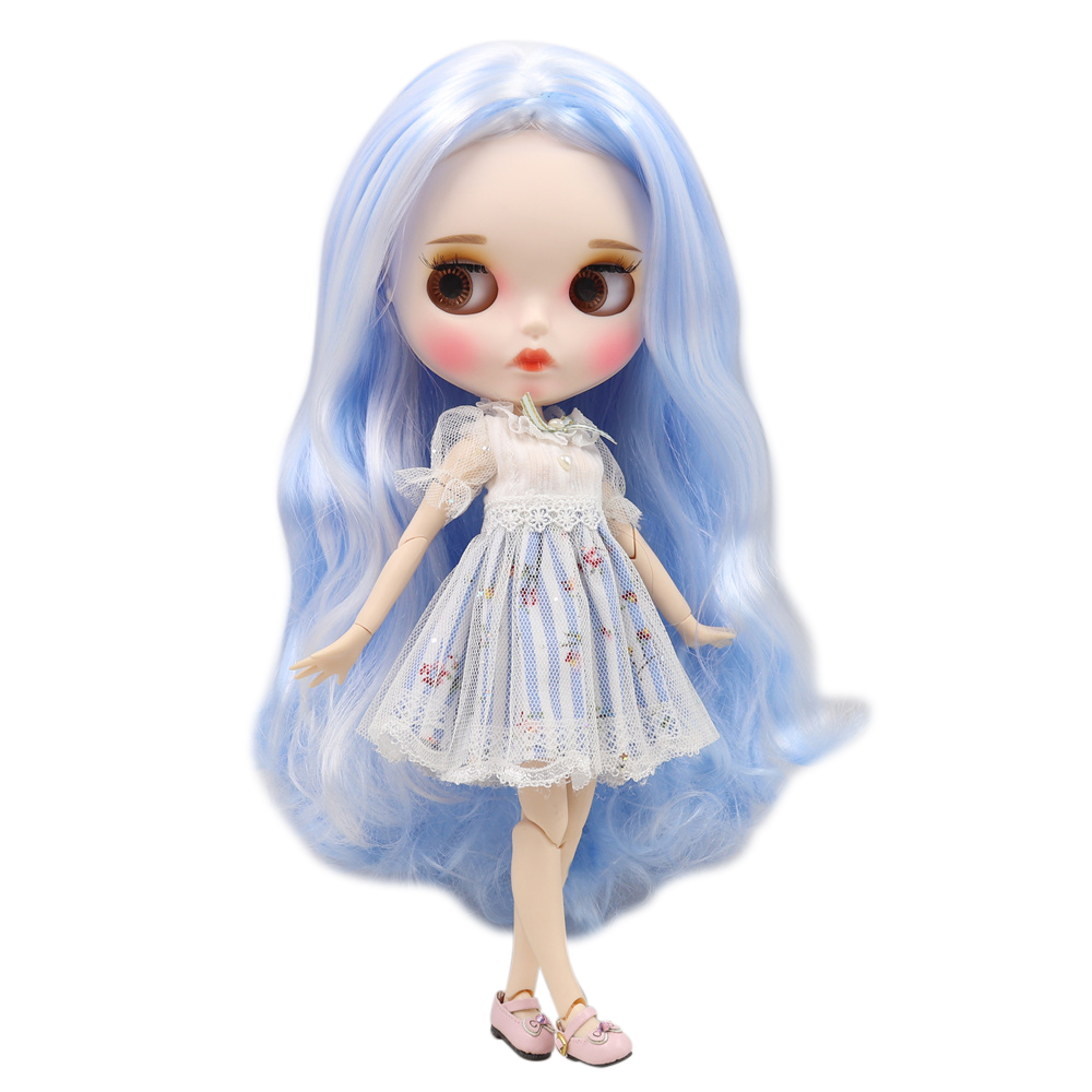 Fortune Days Blyth ICY Doll joint body Cute blue mixed white long curly hair matte face