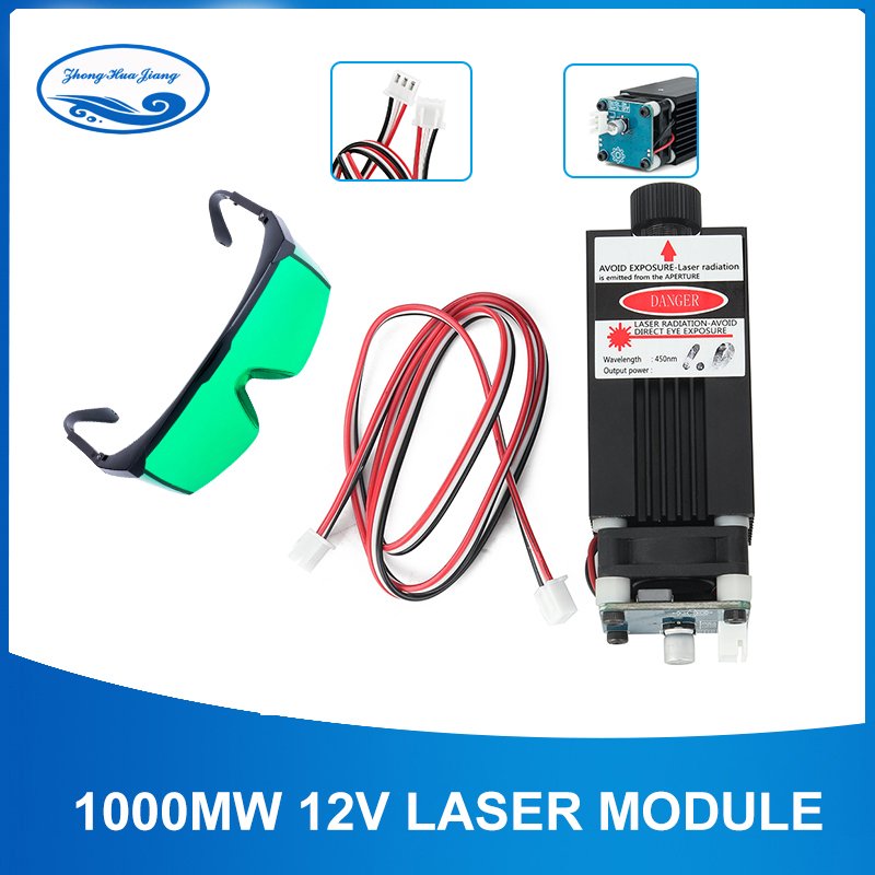 1000mW 450nm 12V Laser Module Laser Engraving Machine part Laser Head, with TTL PWM, can control laser power and adjust focus1000mW 450nm 12V Laser Module Laser Engraving Machine part Laser Head, with TTL PWM, can control laser power and adjust focus