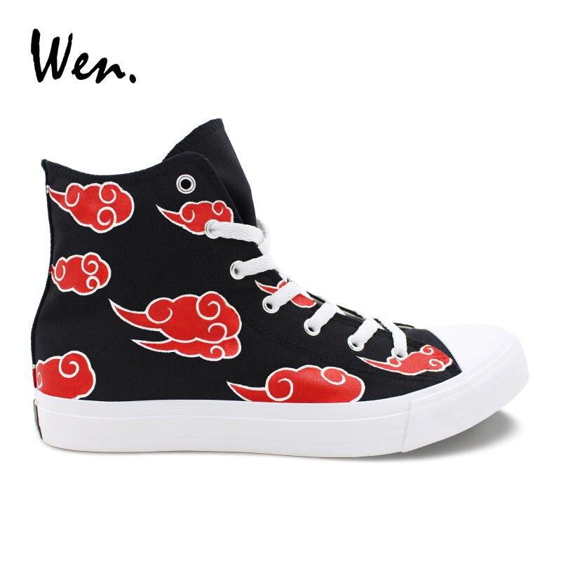 Wen Custom Hand Painted Shoes Naruto Shippuuden Akatsuki Red Clouds Sneakers Teens Cosplay Shoes Espadrilles Flats Zapatillas naruto sakura haruno cosplay boots shoes mp001015