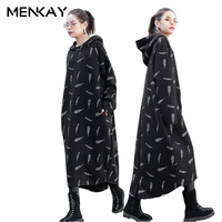 [MENKAY] MENKAY European Print Feather Hooded Suede Women Dress Long Sleeve Loose Long Fashion New Ladies plus size Clothing