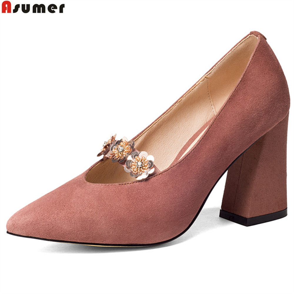 ASUMER black pink fashion spring autumn ladies pumps pointed toe elegant wedding shoes women suede leather high heels shoes new spring autumn women shoes pointed toe high quality brand fashion ol dress womens flats ladies shoes black blue pink gray