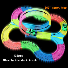 132PCS with Light Up Race Vehicle 360 Stunt Loop Action Glow in the Dark Track flexible