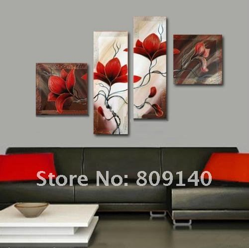 Oil Painting Canvas Red Flower Abstract Decorative Artwork