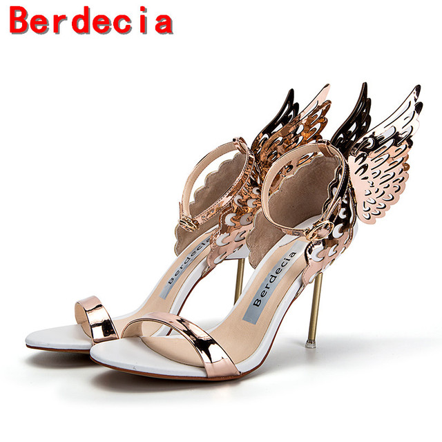 big sale b3e42 90ad0 US $69.0 |Berdecia scarpe di marca di lusso donna Metallic oro tacchi alti  sandali ali patent leather peep toe signore sandalias mujer 2017 in ...