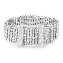 Metal Chain Belts Women Diamante Crystal Chain Belt Full Rhinestone Bride  Wide Bling Female Waist Belt Shiny Waistband 1c090e6c251e