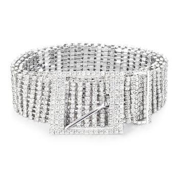Metalowe łańcuszek do spodni s kobiety Diamante kryształ łańcuszek do spodni pełne Rhinestone panny młodej szeroki Bling kobiet pas biodrowy błyszczące pas