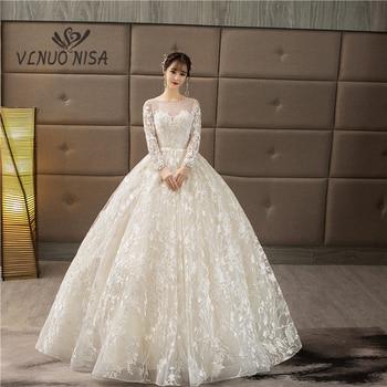 VLNUO NISA Ball Gown Wedding Dresses 2018 Illusion Lace Appliques Pearls Bridal Gowns Sweet O-Neck Vestido De Novias Custom size