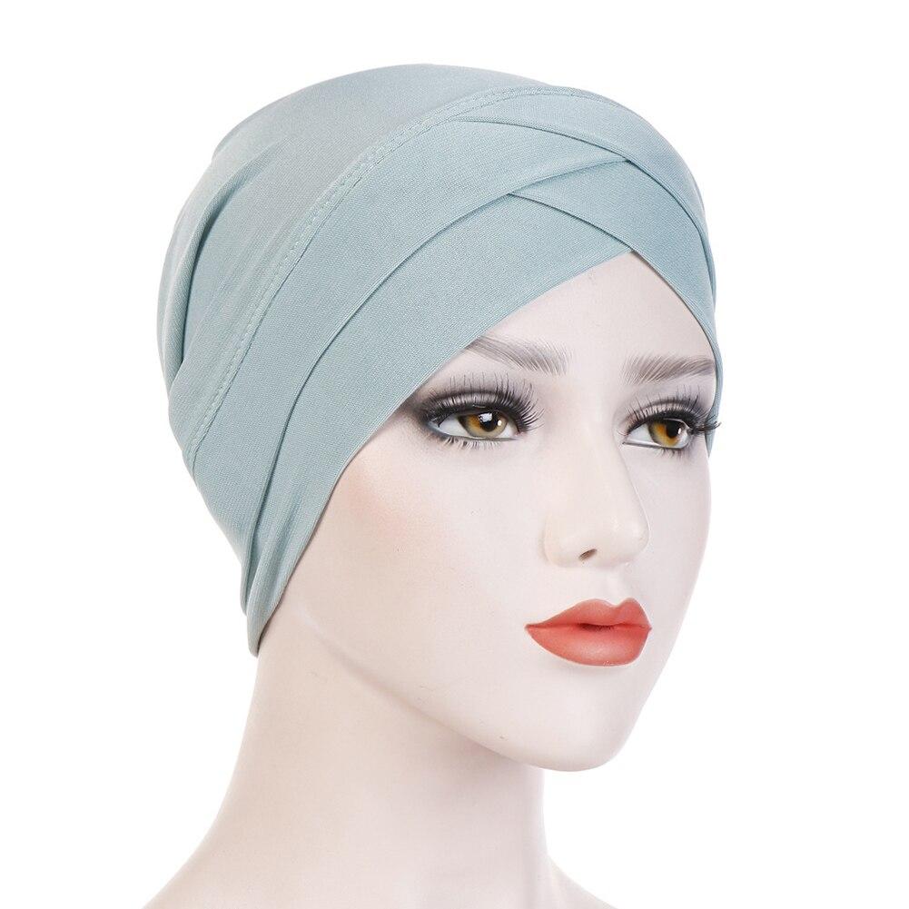 Женский хлопковый хиджаб, шарф, тюрбан, шапка, мусульманский головной платок, солнцезащитная Кепка, мусульманский Многофункциональный тюрбан, фуляр, femme musulman - Цвет: mint green