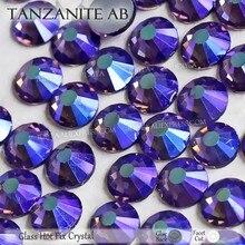 Tanzanite ab quente derreter plana volta strass hotfix cristal strass pedra de vidro para needlework vestidos de casamento espumante decoração