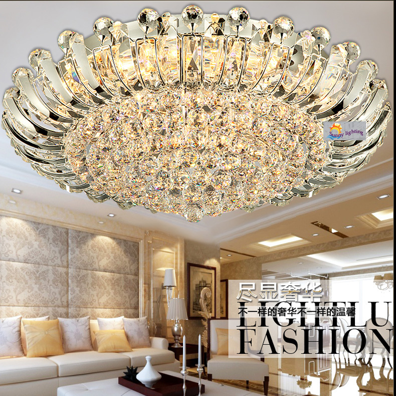 100 crystal surface ceiling lamp sunflower large led luminaria modern luxury ceiling lights hotel living room crystal lighting in ceiling lights from - Big Living Room Lamps